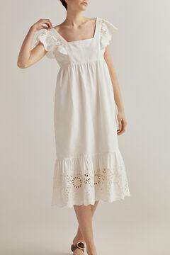Pedro del Hierro Embroidered linen dress White