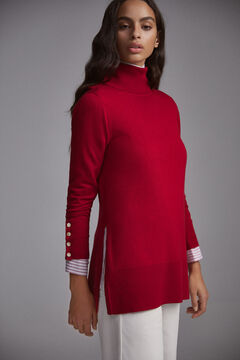 Pedro del Hierro Polo neck tunic jumper Red