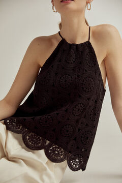 Pedro del Hierro Crochet halterneck top Black