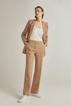 Pedro del Hierro High waist wide leg trousers Beige