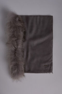 Pedro del Hierro Shawl with fur detail Grey