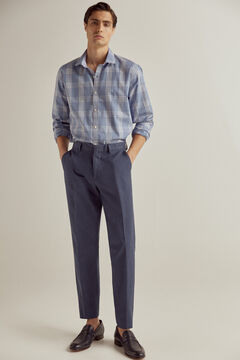 Pedro del Hierro Prince of Wales check stretch cotton and linen shirt  Blue