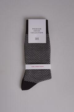 Pedro del Hierro Herringbone wool socks Grey