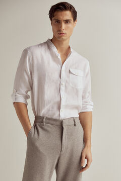 Pedro del Hierro At Home collection plain 100% linen mandarin collar shirt Ecru