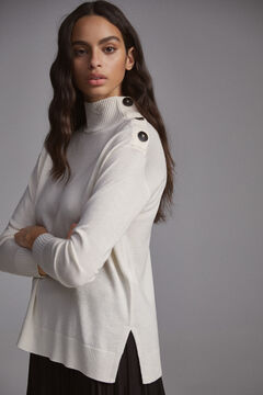 Pedro del Hierro Mock turtleneck jumper with buttons Ecru