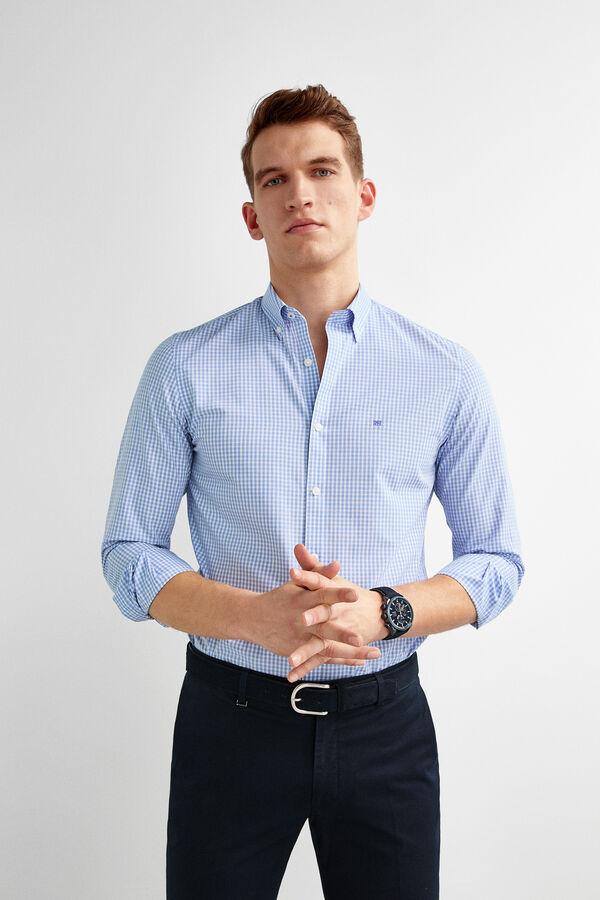 774d5723f Pedro del Hierro Camisa non-iron cuadros cuello botón Azul