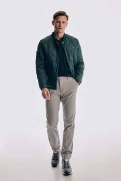 Pedro del Hierro Micro pattern regular fit trousers Grey