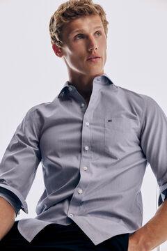 Pedro del Hierro Camisa lisa soft non iron algodão Azul