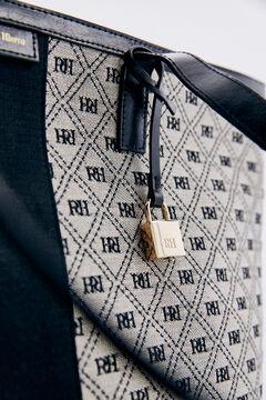 Pedro del Hierro Logo jacquard and leather shopper bag Black