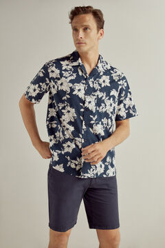Pedro del Hierro Camisa estampada flores cuello camp manga corta Blue