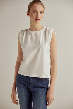 Pedro del Hierro Sleeveless shoulder pads T-shirt Ecru
