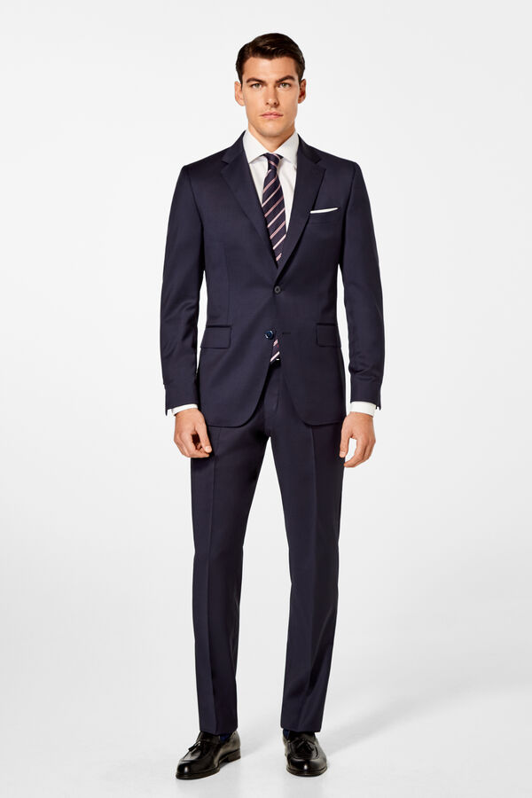 Pedro del Hierro Tailored fit plain trousers Blue 909fe296659