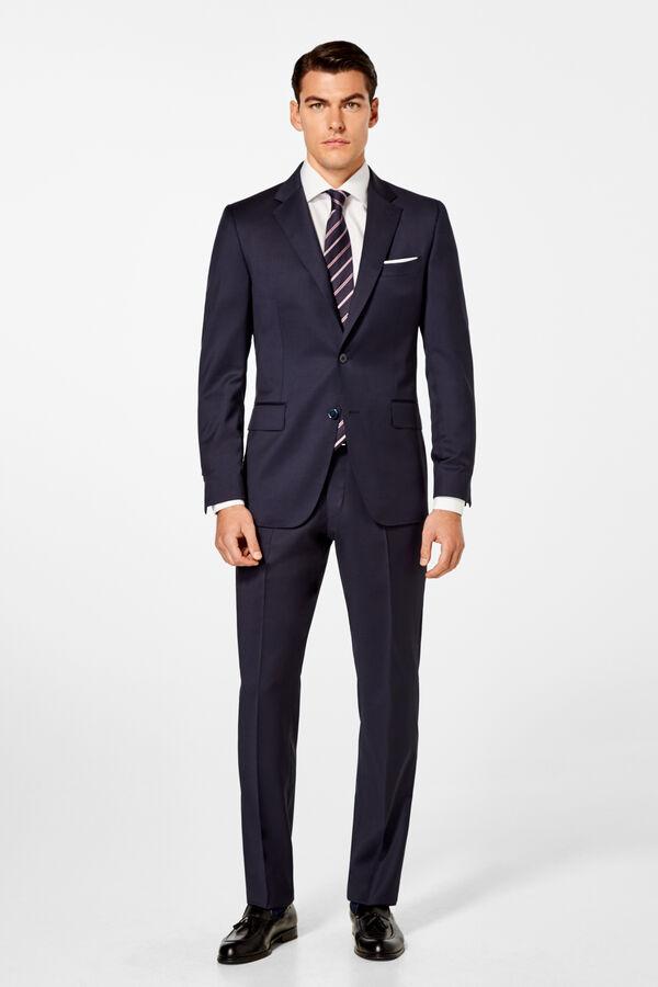 Pedro del Hierro Tailored fit plain trousers Blue da97ee3c67e