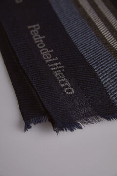Pedro del Hierro Striped scarf Blue