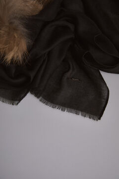 Pedro del Hierro Shawl with fur detail Black
