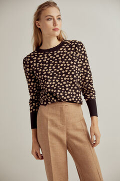 Pedro del Hierro Two-tone polka-dot jacquard jumper with puffed sleeves Black