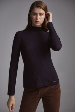 Pedro del Hierro Two-tone herringbone patterned mock turtleneck jumper Blue