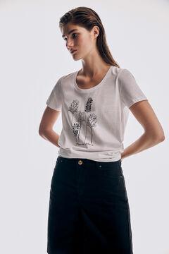 Pedro del Hierro Camiseta manga corta cuello amplio bordado logo Beige