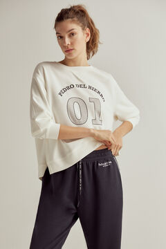 Pedro del Hierro Soft feel sweatshirt with rubberised logo Ecru