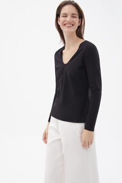 Pedro del Hierro Long-sleeved V-neck T-shirt Black