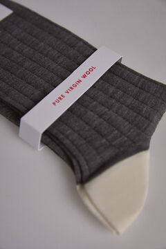 Pedro del Hierro Plain ribbed wool socks Grey