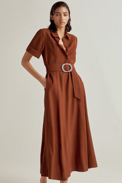 Pedro del Hierro Short-sleeved shirt dress Brown