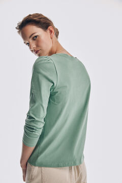 Pedro del Hierro Long-sleeved wide neck gathered T-shirt Green