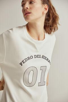 Pedro del Hierro Sweatshirt tato suave logo engomado Ecru