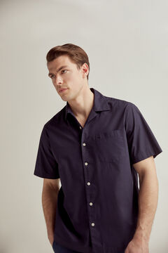 Pedro del Hierro Plain short-sleeved camp collar shirt  Blue