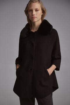 Pedro del Hierro Knit coat with fur Black