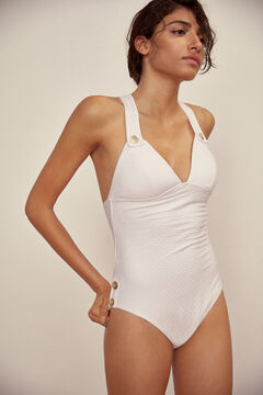 Pedro del Hierro Plain textured swimsuit White