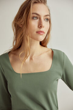 Pedro del Hierro Essential square neck t-shirt Green