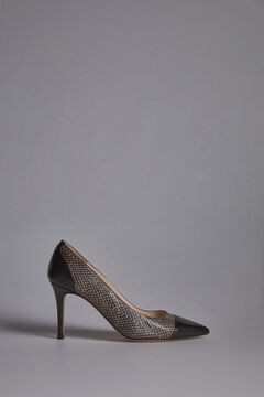 Pedro del Hierro Two-tone Snakeskin effect Court Shoe Black