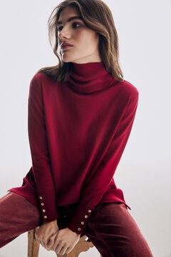 Pedro del Hierro Organic cotton polo neck tunic jumper Red