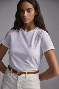 Pedro del Hierro Camiseta manga corta cuello caja logo en strass iridiscente Blanco