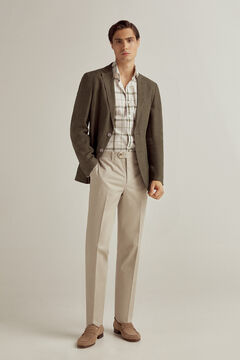 Pedro del Hierro Checked stretch cotton and linen shirt Green