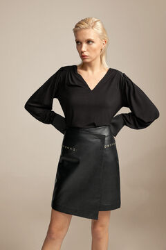 Pedro del Hierro Nappa leather wrap skirt Black