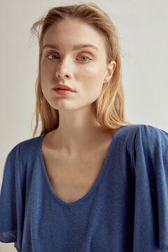 Pedro del Hierro Essential V-neck flounced short-sleeved T-shirt Blue