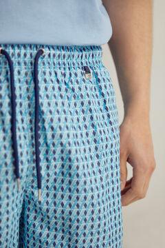 Pedro del Hierro Geometric print swimming shorts with branded bag Blue