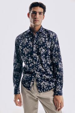 Pedro del Hierro Floral print Italian fabric shirt Blue