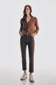 Pedro del Hierro Skinny fit rubber-effect jeans Brown