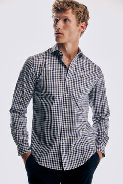 Pedro del Hierro Camisa xadrez soft non iron algodão Azul