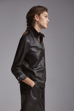 Pedro del Hierro Long-sleeved leather shirt Black