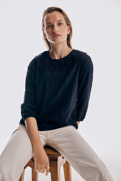 Pedro del Hierro Lace top with three-quarter length sleeves Blue