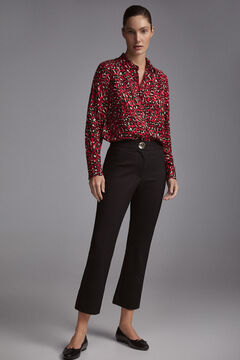 Pedro del Hierro Stretch trousers with high waist Black