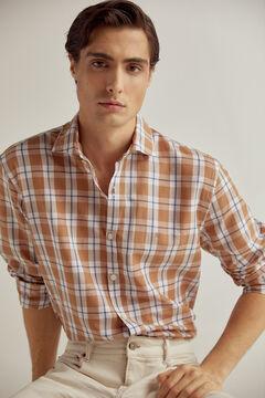 Pedro del Hierro Checked Italian fabric shirt Beige