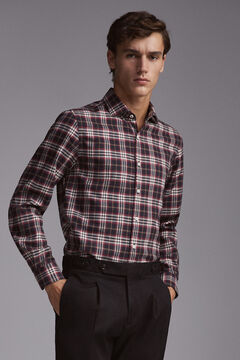 Pedro del Hierro Cashmere touch cotton tartan shirt Grey