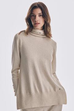 Pedro del Hierro Organic cotton polo neck tunic jumper Beige