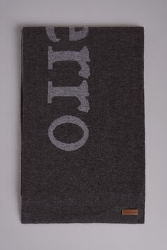 Pedro del Hierro Knitted big logo scarf Grey