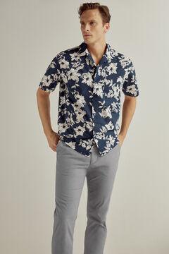 Pedro del Hierro Micro pattern slim fit trousers Blue